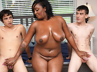 18 year old , Ebony , Interracial , Mom